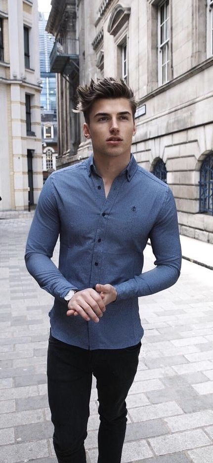 Casual summer outfit idea with a blue long sleeve shirt watch .