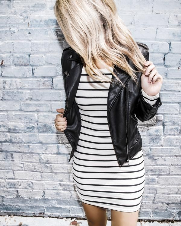 black and white striped long sleeve dress by emmer & oat... fall .