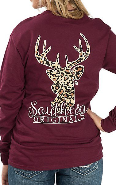 Girlie Girl Originals Women's Maroon Leopard Print Deer Long .