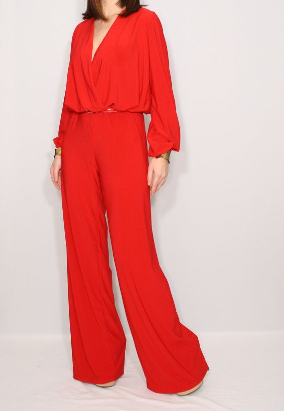 Red womens jumpsuit, 80s jumpsuit | Red jumpsuit, Jumpsuit, Cute .