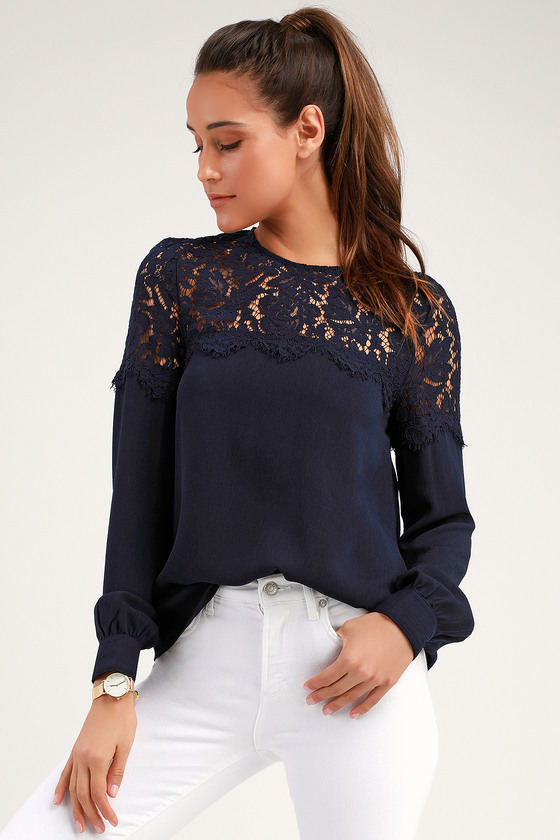 Lace Top - Navy Blue Shirt - Long Sleeve Top - Navy Blou