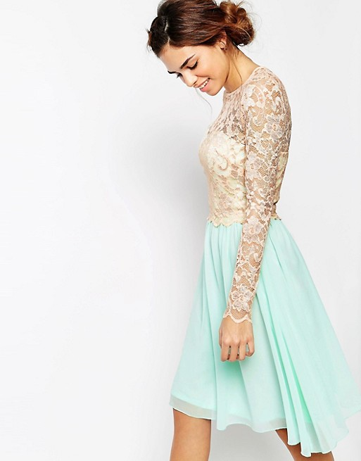 Little Mistress Long Sleeve Lace Top Dress with Full Skirt   AS