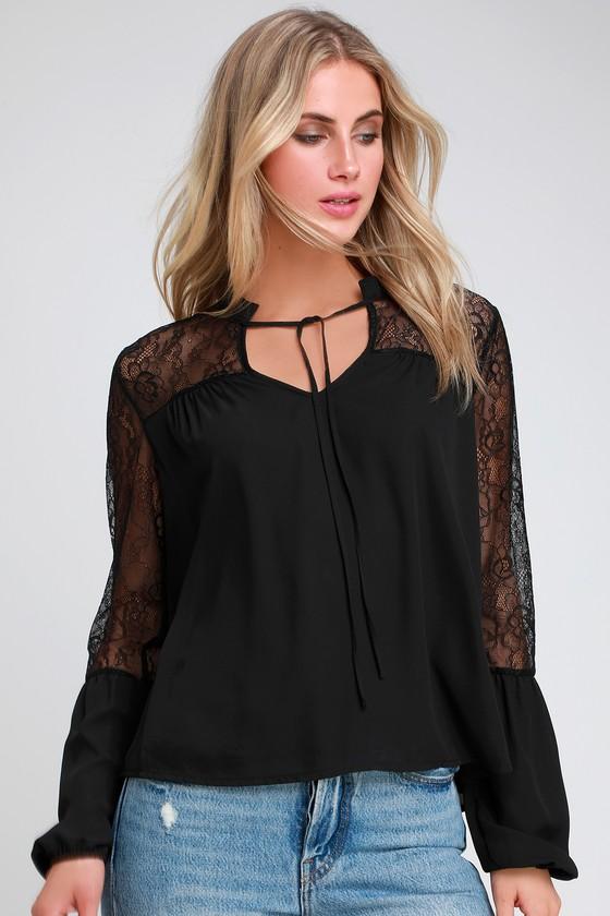 Lulus Black Lace Top - Black Lace Long Sleeve Top - Lace T