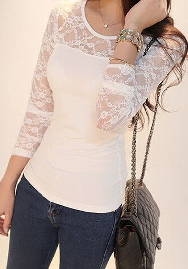 White Lace Top - Long Sleeves Lace Top   Fashion, White lace long .