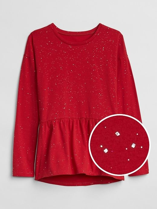 Gap Girls Sparkle Peplum Long Sleeve T-Shirt Modern Red | Sparkle .