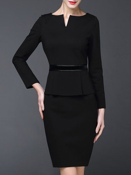 Shop Midi Dresses - Black Polyester Long Sleeve Sheath Crew Neck .