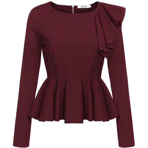 Meaneor Women's Ruffles Peplum Long Sleeve Dressy Blouse Tops ($16 .