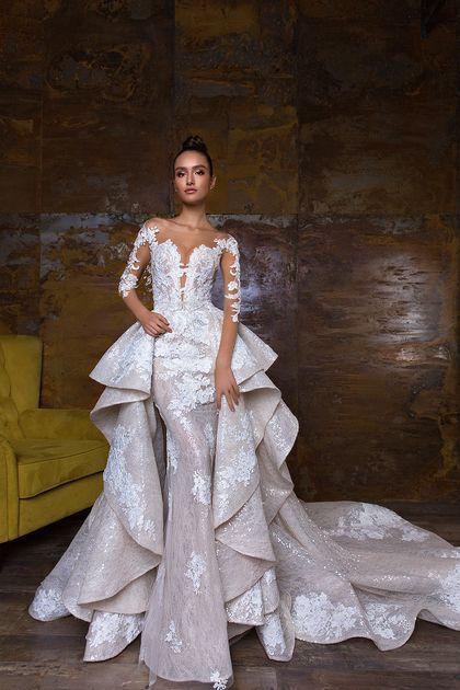 2018 Mermaid Scoop Long Sleeves Wedding Dresses Tulle & Lace With .