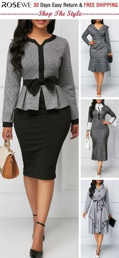 Bowknot Embellished Long Sleeve Peplum Waist Dress For Work Women .