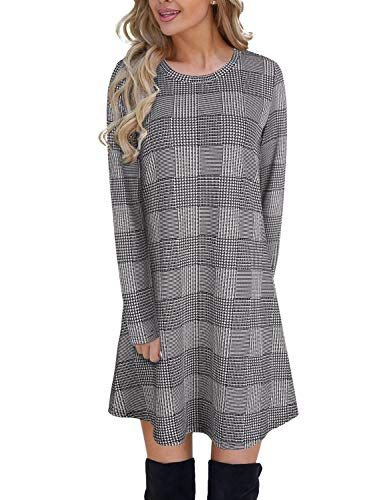 Blooming Jelly Women's Plaid Swing Dress Long Sleeve Round Neck .