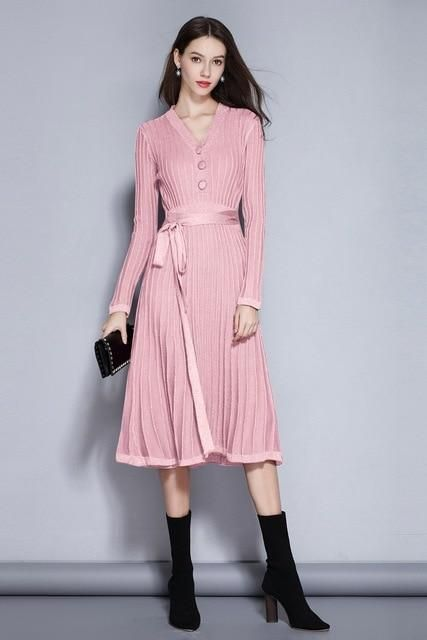 Long Sleeve Pleated Swing Dress womens swing dress vintage dresses .