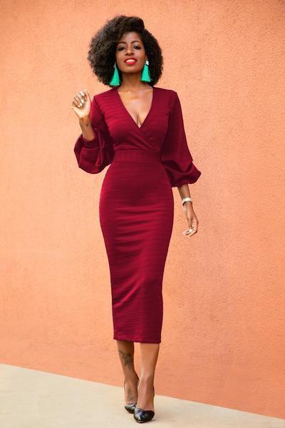 Long Sleeve V-neck Bodycon Midi Maxi Dress – ShopForSelecti