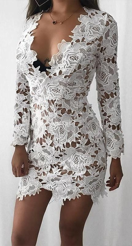 Annabelle White Floral Crotchet Invisible Long Sleeve Mini Dress .