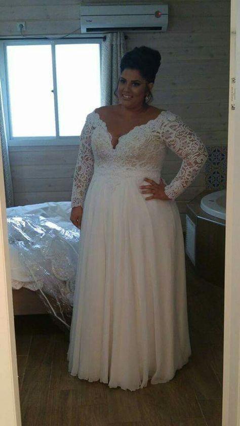 40+ Plus Size Wedding Dresses V Neck Ideas | Plus wedding dresses .