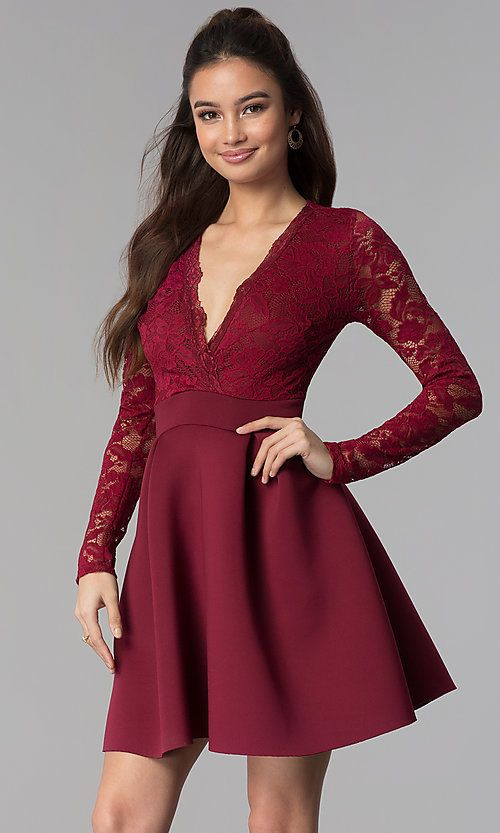 Lace and Scuba Long-Sleeve V-Neck Homecoming Dress | Tight long .