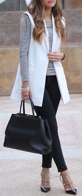 White sleeveless vest | Fashion, Outfits, Work fashi