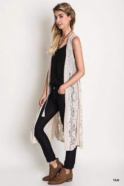 Front Tie long Lace and Knit Vest. | Crochet vest outfit, Lace .