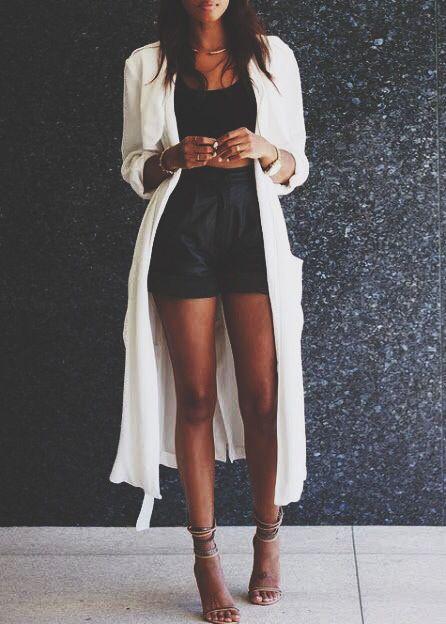 long white cardigan + black crop top + high waist shorts | Fashion .
