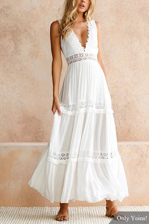 Sweet V-neck Lace Maxi Dress in White - US$40.99 | White lace maxi .
