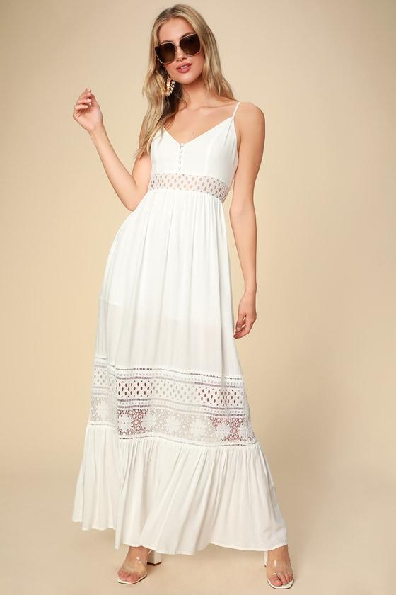 Kaia White Lace Sleeveless Maxi Dress | White dress summer, White .