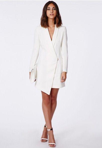 Sancha Long Line Asymmetric Zipped Blazer Dress - Blazers .