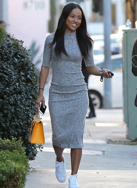 Marled Mock Neck Dress | Fashion, Midi dress outf