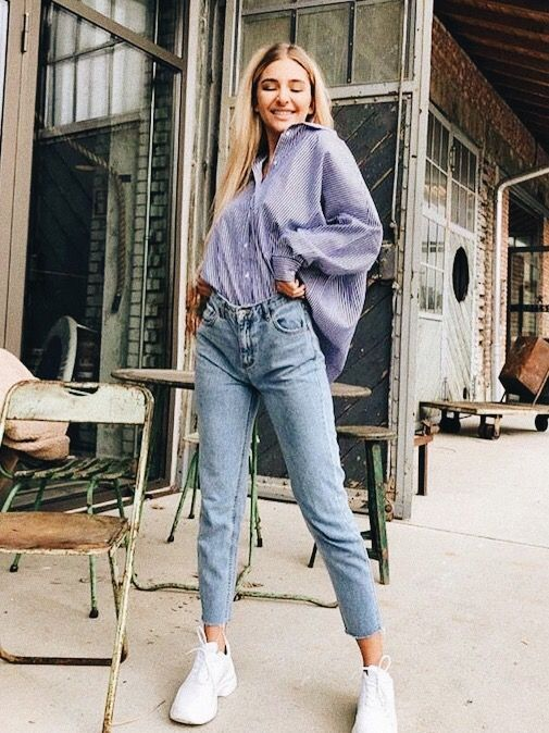 Cute purple button up shirt | Fashion, High rise mom jeans, Mom .