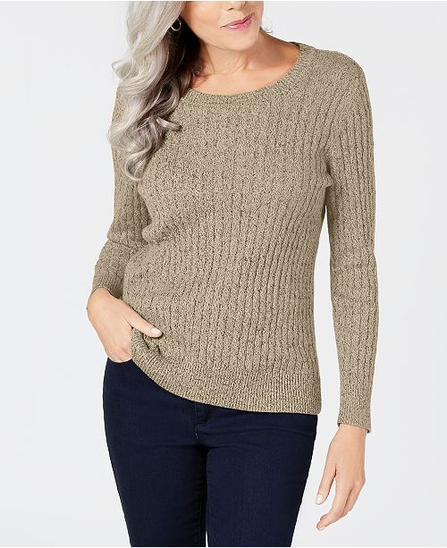 Karen Scott Petite Marled Cotton Cable-Knit Sweater, Created for .
