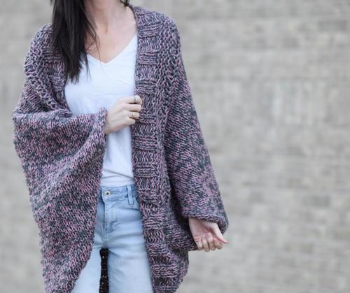 Easy Marled Knit Cardigan | AllFreeKnitting.c