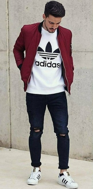 How to Wear a Burgundy Bomber Jacket For Men (50 looks & outfits .