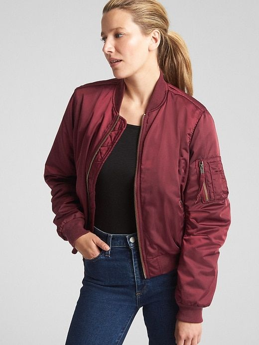 Gap Womens Classic Bomber Jacket Red Delicious   Bomber jacket wom