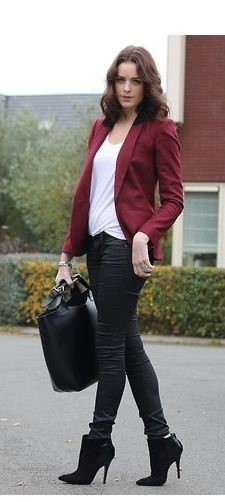 how to wear maroon bomber jacket women - Google Search | Blazer .