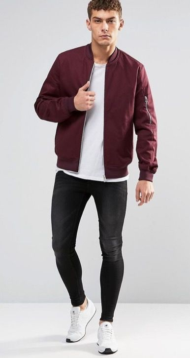 Maroon bomber jacket Boring outfit, add layering to your top .