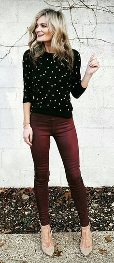 fall #outfits women's black and white long sleeve top with maroon .