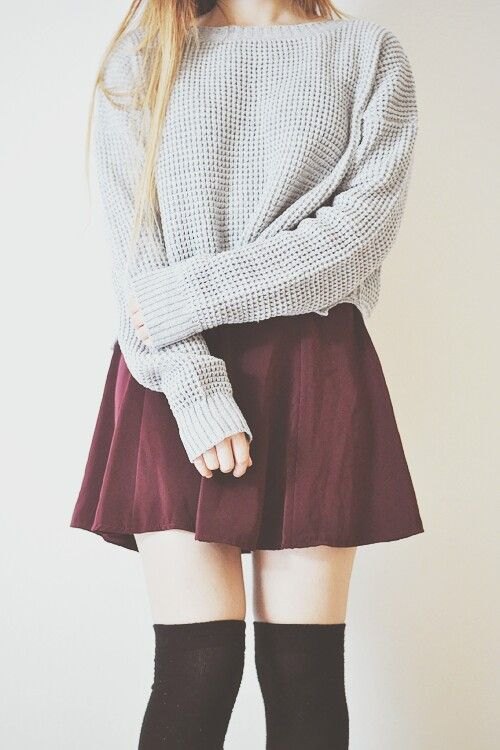 Cute casual outfit with the grey sweater, burgundy skirt, and .