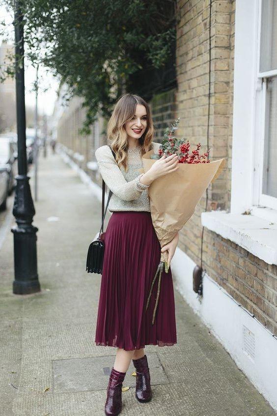 New burgundy pleated high waist women skirt wine red midi length .