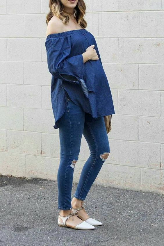 Stunning 60+ Comfy Jeans Outfits For Pregnant Women Ideas .