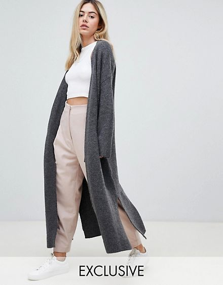 LOUNGEWARE Micha Lounge luxe maxi cardigan with side splits .