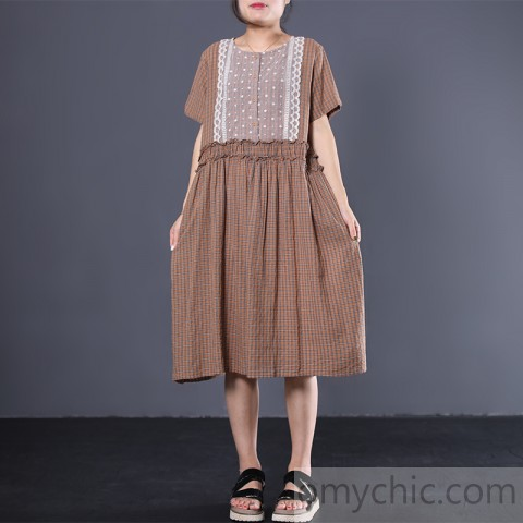 Loose ruffles cotton dresses Fashion Ideas khaki plaid Maxi .