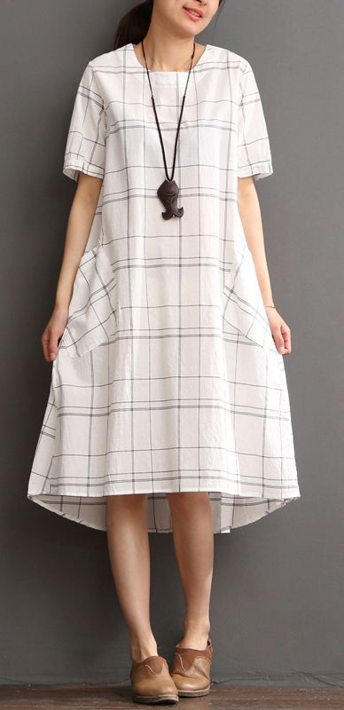 White cotton dress plaid sundress plus size summer maxi dress .