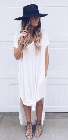 maxi t-shirt dress. hat. gladiator sandals. summer style .