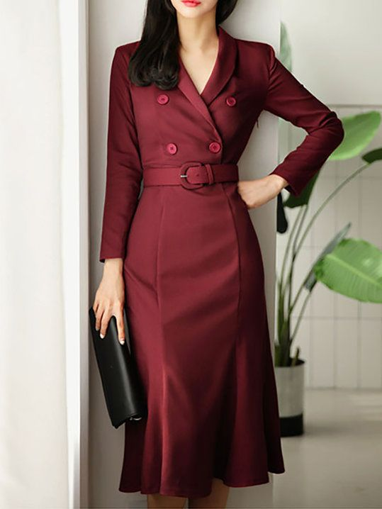Daily Lapel Mermaid Paneled Midi Dress | Elegant dresses for women .