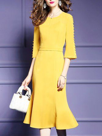 Yellow Mermaid Daily Elegant Half Sleeve Paneled Solid Midi Dress .