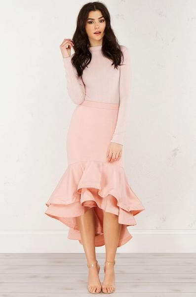 Modest Pink Ruffled Dress | Fashion, Dresses, Mermaid ski
