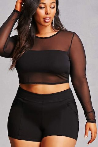 Plus Size Mesh Crop Top | Plus size crop tops, Plus size bra, Plus .