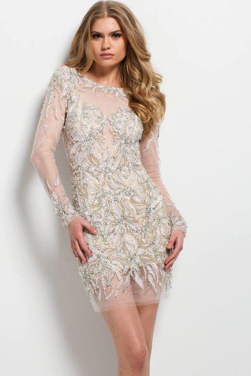 Jovani - 45929 Long Sleeve Embellished Illusion Dress | Backless .
