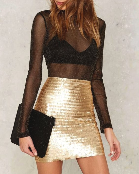 sheer-mesh-top-gold-sequin-skirt-outfit-ideas-for-new-years-eve .