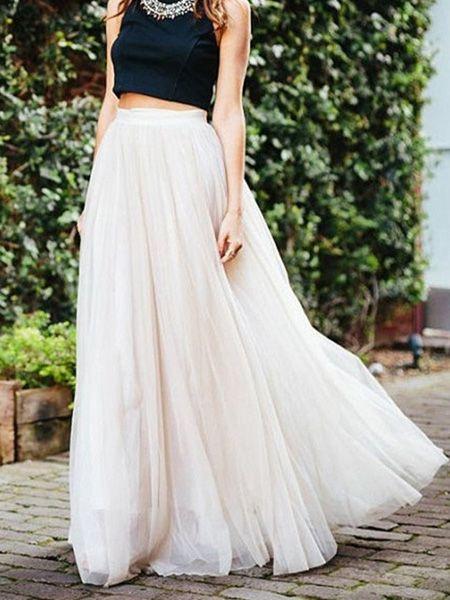 White High Waist Mesh Maxi Bubble Skirt | Bubble skirt, White .