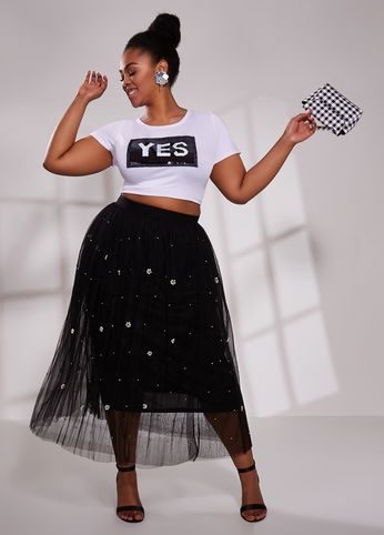 Plus Size Outfits - Sequin T-Shirt with Mesh Skirt | Plus size .
