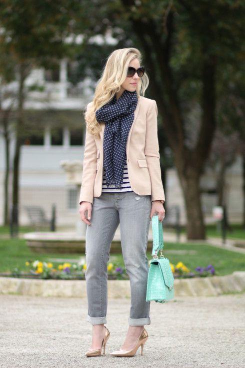 J. Crew pink wool blazer, blush pink blazer, navy printed scarf .